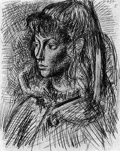 Pablo Picasso ~ Portrait of Sylvette David, 1954 (pencil)