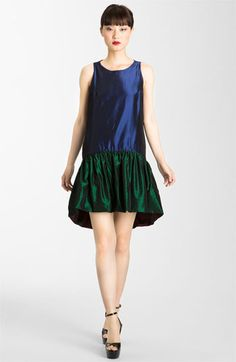 II love this!The colors are so saturated and lush, and that's true for the reverse side as well. Brill.  KENZO Reversible Drop Waist Taffeta Dress available at Nordstrom