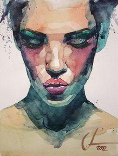 """Lips"" - Alexander Dzivnel {contemporary artist female head woman face portrait watercolor painting}"