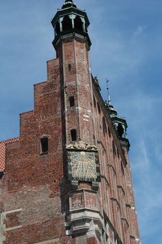 """Old Sun Dial in Old Town of Gdansk, Poland. Princess """"Star"""" Ship."""