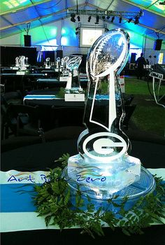 Lombardi Trophy Ice Centerpiece  _Ice Sculpture _Corporate _Events _Centerpieces _Greenbay Packers Packers Baby, Go Packers, Green Bay Packers, Ice Sculpture Wedding, Ice Logo, Lombardi Trophy, Ice Hotel, Ice Bars, Ice Sculptures