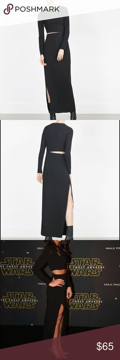 Brand new Zara studio cut out dress NWT size small (runs small), black Zara Studio dress. Looks so chic, sadly I should have bought the medium. Very difficult dress to photograph, but it's in perfect condition. Zara Dresses Midi