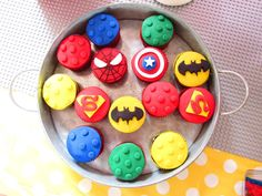 Lego Superhero birthday party cupcakes! See more party ideas at CatchMyParty.com!
