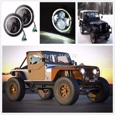 98.10$  Watch now - http://aipmm.worlditems.win/all/product.php?id=32670868447 - 7INCH High/Low Beam LED Headlight 12V 24V Car Accessories for JK Wrangler Jeeps 40W LED Headlight Halo Round 7INCH
