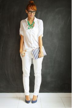 Fashion Pants, Look Fashion, Womens Fashion, White Pants Outfit, Casual Chique, White Suits, Office Looks, Beautiful Dresses, White Jeans