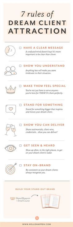 7 Rules of Dream Client Attraction - Entrepreneurs - Ideas of Buying First House Branding Your Business, Business Advice, Business Planning, Business Marketing, Creative Business, Online Business, Marketing Branding, Business Logos, Corporate Branding