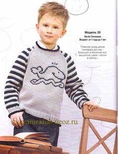 """Пуловер с вышивкой """"кит"""" - Для мальчиков  - Каталог файлов - Вязание для детей"""