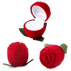 Nueva Red rosa caja de la joyería anillo de bodas de regalo caja de almacenamiento de los pendientes del soporte de exhibición 4XBS