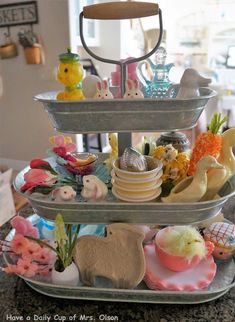 Treasures and Trinkets Tuesday.Easter Smalls in My Tiered Tray Happy Spring, Tuesday, Tray, Make It Yourself, Dinner, Quotes, Projects, Easter Activities