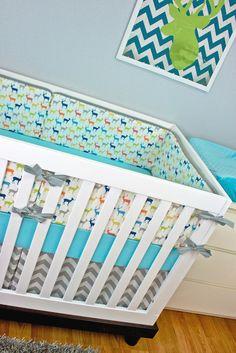 Baby Boy Nursery, Aqua Orange Green Chevro, Oh Deer! | Modified Tot. Baby Boy Outdoor Deer Nursery Crib Set