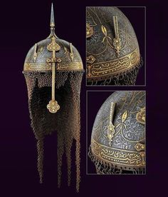 #inspiration for: #characterdesign #weapondesign  19th century - Qajar dynasty #indopersia  #helmet Steel, inlaid with gold  Imagine an old warlord in a frustrated night in the heart of cantonment.old #warlord is breathing his last breathes. The #death is coming near to him after a glorious life filled with #pride and honor ...the lord is now dead. Army men are mourning and... His proud helmet has burried the legends of war in its heart of steel  #الهام_بخشی برای #طراحی_سلاح #طراحی_شخصیت…