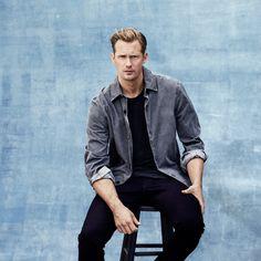 Mr Alexander Skarsgård for MR PORTER wearing Alexander McQueen Jacket, James Perse T-Shirt and Brioni Denim Jeans.