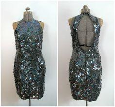 Vintage Pewter Sequined Beaded Dress Open Back by rileybella123, $109.00