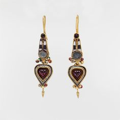 Pair of gold earrings set with stones and glass - during the Ptolemaic period in Egypt, Egyptian motifs were fashionable in Greek jewelryGreek, 3rd–2nd century B.C.