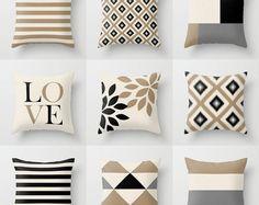 Neutral Pillow Covers Neutral Decor Throw Pillow Covers Decorative Pillow Cover Accent Pillow Cover Black Beige Taupe Grey Home Decor Neutral Pillows, Decorative Pillow Covers, Throw Pillow Covers, Accent Pillows, Grey Home Decor, Pillow Cover Design, Diy Pillows, Couch Pillows, Decor Pillows