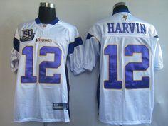 Sale 25.00 50Th Reebok NFL Jersey Minnesota Vikings Percy Harvin 12 White  ... 354892391