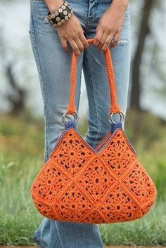 This motif crochet bag is the perfect pop of color for your wardrobe.