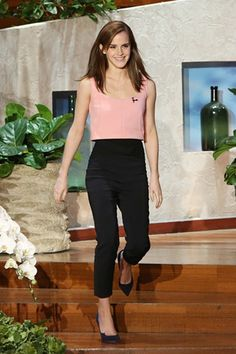 The Ellen Show, LA - March 24 2014 Emma Watson wore a top and trousers both from Osman's spring/summer 2014 collection. with Paul Andrew heels.