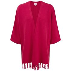 Pure Collection Nadia Cashmere Fringe Trim Cardigan, Dusty Berry (19210 RSD) ❤ liked on Polyvore featuring tops, cardigans, pink cardigan, pink top, print cardigan, pure collection and pink cashmere cardigan