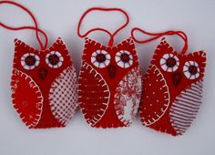 Christmas owl ornaments 3 red & white felt owls by PuffinPatchwork, $22.50