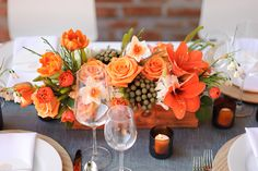 Whimsical and modern planter box centerpiece with orange roses and brunia berries   Photo by The Minnericks, floral design by We + You Studios #orange
