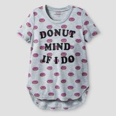 Girls' Donut Mind If I Do Graphic T-Shirt - Gray