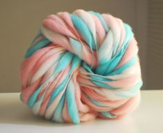 Lovely color combination - Handspun Thick and Thin Merino Wool Yarn  50 by HookaholicHandspun, $12.50