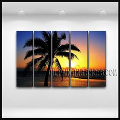 Enchant Contemporary Wall Art Oil Painting On Canvas Gallery Stretched Hawaii Beach. This 5 panels canvas wall art is hand painted by E.Cheung, instock - $165. To see more, visit OilPaintingShops.com