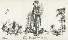 1916 Christmas card printed by an Australian Brigade to be sent home to family and friends. The left panel depicts a French farmhouse being bombed, the centre panel has an Australian soldier presenting arms before the Basilica of Notre Dame de...