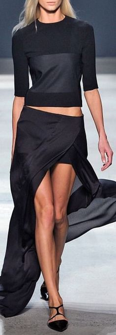Narcisco Rodriguez - black maxi cropped top flat shoes