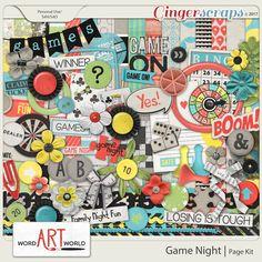 Game Night Page Kit #wordartworld #digital #digitalscrapbooking #pagekit #wordart #gingerscraps #scrapbooking #digitalpapers #digitalart #digitalkit #memories #boardgames