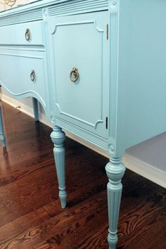 Painting Dining Room Furniture :: Hometalk Benjamin Moore Buxton Blue -- sand, spray with Klitz, sand again 2 coats of paint.  Prime with SW Pro Classic