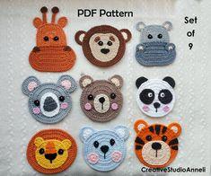 Crochet Applique Patterns Free, Crochet Animal Patterns, Crochet Motif, Baby Knitting Patterns, Crochet Animals, Crochet Appliques, Crochet Panda, Crochet Octopus, Crochet Bear