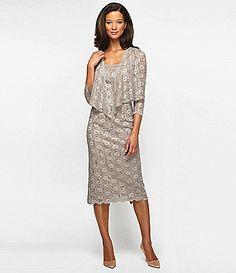 Alex Evenings Scalloped Lace Jacket Dress #Dillards