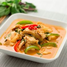 Thai Red Curry.  Bell Pepers, Zucchini, Carrot, Onion, Chicken or Shrimp.