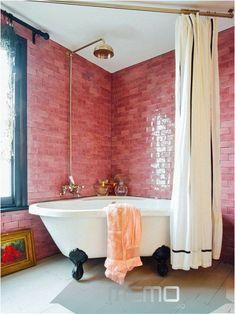 Deco Design, Design Case, Design Design, Couch Design, Bathroom Inspiration, Interior Inspiration, Jo Wood, Decoracion Vintage Chic, Pink Tiles