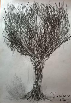 Desenho de Ticiano Souza - Desenho de Árvore - Desenho feito com grafite - 2017