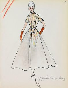 Hubert de Givenchy Es Coquillages Collection Spring / Summer 1953 Archives Maison Givenchy Couture, Paris