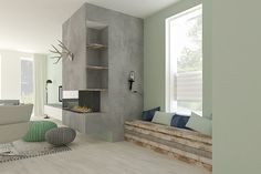 Scandinavisch interieur met beton, steigerhout en een grote haard | Adrianne van Dijken Interieuradvies