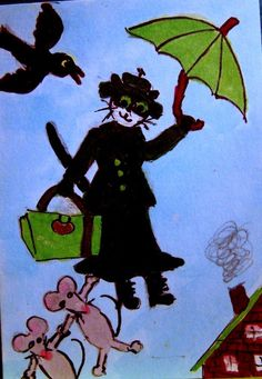 aACEO TW APR Mary Poppins Catified umbrella mice bird whimsical cartoon  #Miniature   #art #eBay #cat #mice #MaryPoppins #whimsical #umbrella #rain