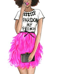 Afro Fashion Illustration,Fashion illustration print,Fashion wall art,Fashion Poster,Girly room art,Watercolor fashion art,Pardon My French