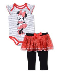 Minnie Mouse Black & Red Bodysuit & Skirted Leggings - Infant #zulily #zulilyfinds