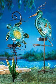Solar Hummingbird Globes Outdoor Garden Stake Solar Powered