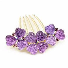Zinklegierung Dekorative Haarkämme, Blume, goldfarben plattiert, Micro pave Strass & AB Farbe, violett, frei von Nickel, Blei & Kadmium, 72x40mm, - perlinshop.com