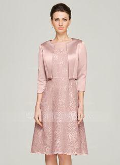 Vestidos princesa/ Formato A Decote redondo Coquetel Renda Vestido para a mãe da noiva com Bordado (008062575) - JJsHouse