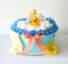 Ducky Diaper Tub by MckayCakesnCrafts on Etsy, $25.00 Diy Diaper Cake, Nappy Cakes, Baby Shower Gifts, Baby Gifts, Duck Cake, Baby Tub, Towel Cakes, Little Boy Blue, Pregnancy Gifts