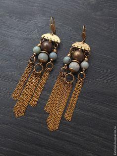 """Купить Серьги из латуни с амазонитом """"Каир"""". Сережки с камнями - ручной работы, подарок девушке"""