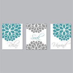 Bathroom Print Art - Relax Soak Unwind - Flower Bathroom - Bathroom Decor - Bath Art  - Turquoise Gray - You Pick the Size & Colors (NS-497)