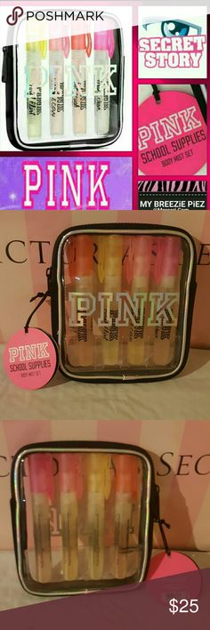"""VS ~ PiNK ~ SCHOOL SUPPLIES ~ BODY MiST Set Victoria's Secret  ~ PiNK 4pc. Body MiST Set ~ """"SCHOOL SUPPLIES"""" ~TOTAL FLIRT ~ HOT CRUSH ~ WARM & COZY ~ FRESH & CLEAN  ~ .23oz. EACH ~ NWT ~ BNIPack *Comes in a ReUsable, clear Pouch with ZiP closure  ~ LiMiTED EDiTiON ~ Collectors item   *With this purchase you will receive a Complimentary VS Gift Bag and Tissue paper... You are all set for GiFTiNG!!!! PINK Victoria's Secret Bags Cosmetic Bags & Cases"""