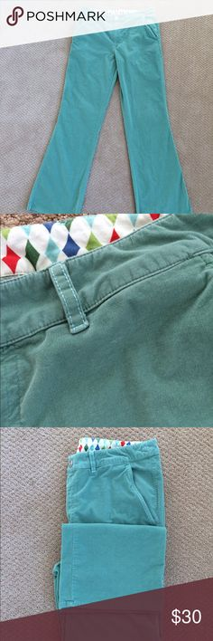 Pinwale cords Buttery soft dusky mint pinwale cords altheltic boot cut (can easily be folded for tapered and cuffed look). Very slight signs of wear to the extremely scrupulous eye. Fun harlequin inside trim. Bonobos Pants Corduroy